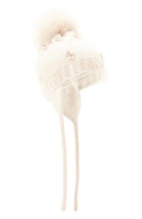 Детского шерстяная шапка с меховым помпоном CATYA белого цвета, арт. 024660/AD | Фото 1