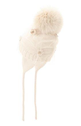 Детского шерстяная шапка с меховым помпоном CATYA белого цвета, арт. 024660/AD | Фото 2