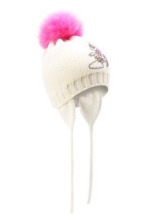 Детского шерстяная шапка с меховым помпоном CATYA белого цвета, арт. 024659/AD | Фото 1