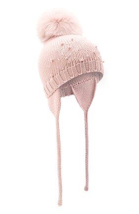 Детского шерстяная шапка с меховым помпоном CATYA розового цвета, арт. 024657/A | Фото 1