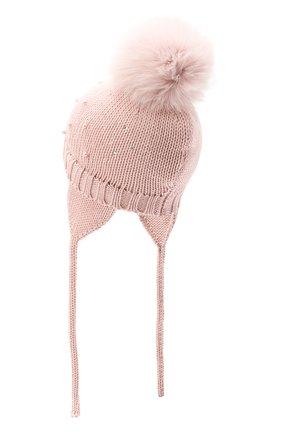 Детского шерстяная шапка с меховым помпоном CATYA розового цвета, арт. 024657/A | Фото 2
