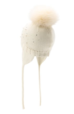 Детского шерстяная шапка с меховым помпоном CATYA белого цвета, арт. 024657/A | Фото 2
