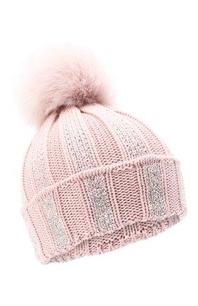 Детского шерстяная шапка с меховым помпоном CATYA розового цвета, арт. 024653 | Фото 1