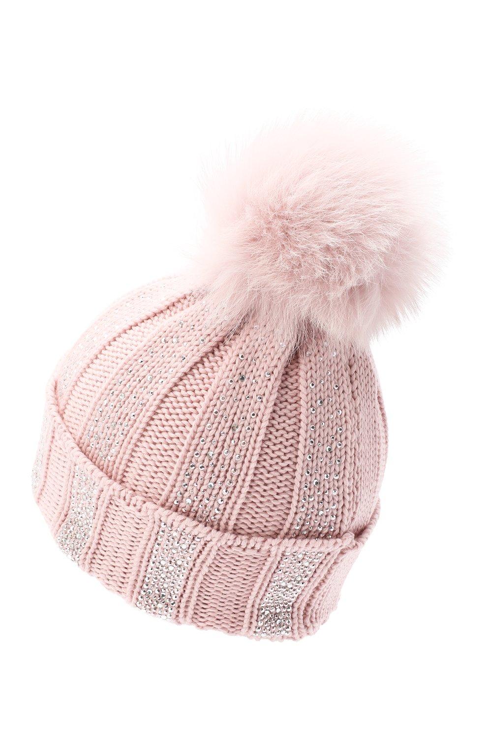 Детского шерстяная шапка с меховым помпоном CATYA розового цвета, арт. 024653 | Фото 2