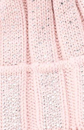 Детского шерстяная шапка с меховым помпоном CATYA розового цвета, арт. 024653 | Фото 3