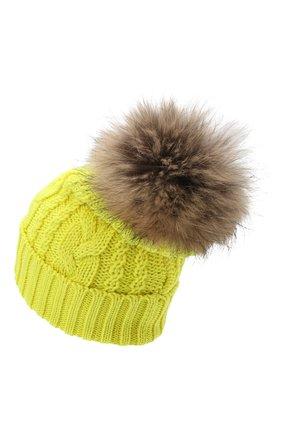 Детского шерстяная шапка с меховым помпоном CATYA желтого цвета, арт. 024651 | Фото 2