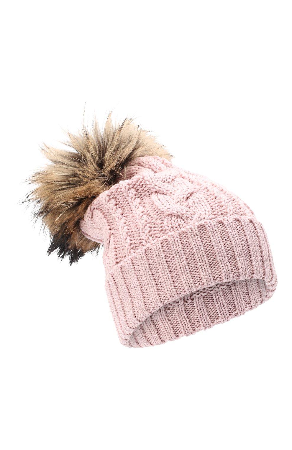 Детского шерстяная шапка с меховым помпоном CATYA розового цвета, арт. 24651 | Фото 1