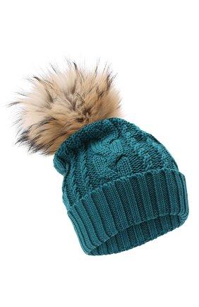 Детского шерстяная шапка с меховым помпоном CATYA зеленого цвета, арт. 024651 | Фото 1