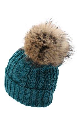 Детского шерстяная шапка с меховым помпоном CATYA зеленого цвета, арт. 024651 | Фото 2