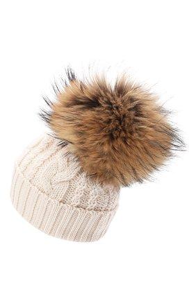 Детского шерстяная шапка с меховым помпоном CATYA бежевого цвета, арт. 024651 | Фото 2