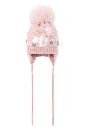 Детского шерстяная шапка с меховым помпоном CATYA розового цвета, арт. 024584/AD | Фото 1