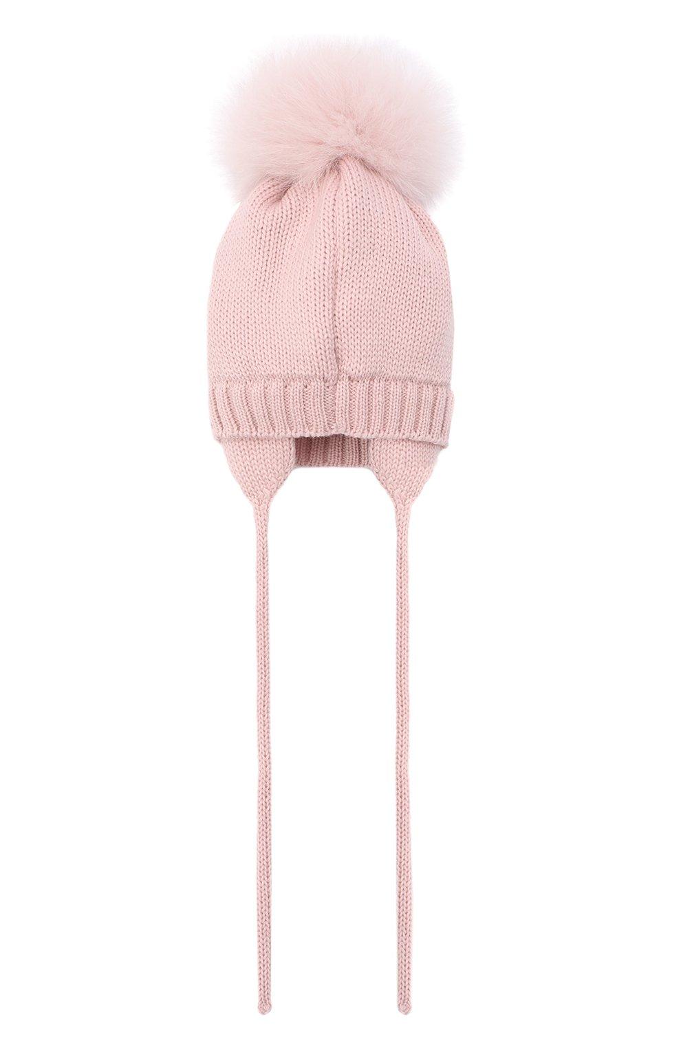 Детского шерстяная шапка с меховым помпоном CATYA розового цвета, арт. 024584/AD | Фото 2