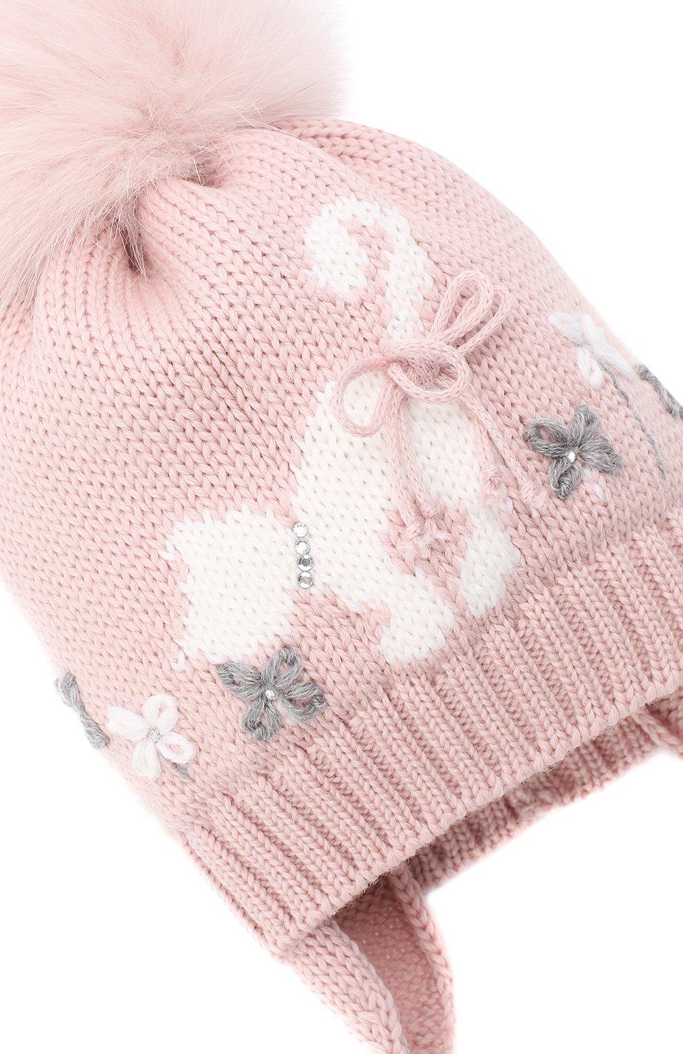 Детского шерстяная шапка с меховым помпоном CATYA розового цвета, арт. 024584/AD | Фото 3