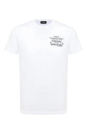 Мужская хлопковая футболка DIESEL белого цвета, арт. A00302/0HAYU | Фото 1