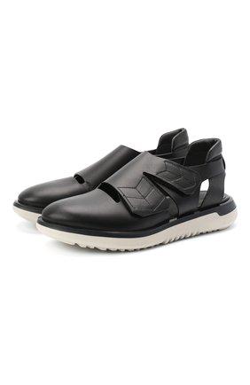 Мужские кожаные сандалии GIORGIO ARMANI черного цвета, арт. X2L116/XM367 | Фото 1