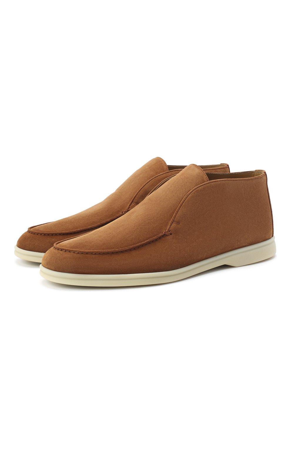 Мужские замшевые ботинки open walk LORO PIANA светло-коричневого цвета, арт. FAB4368   Фото 1