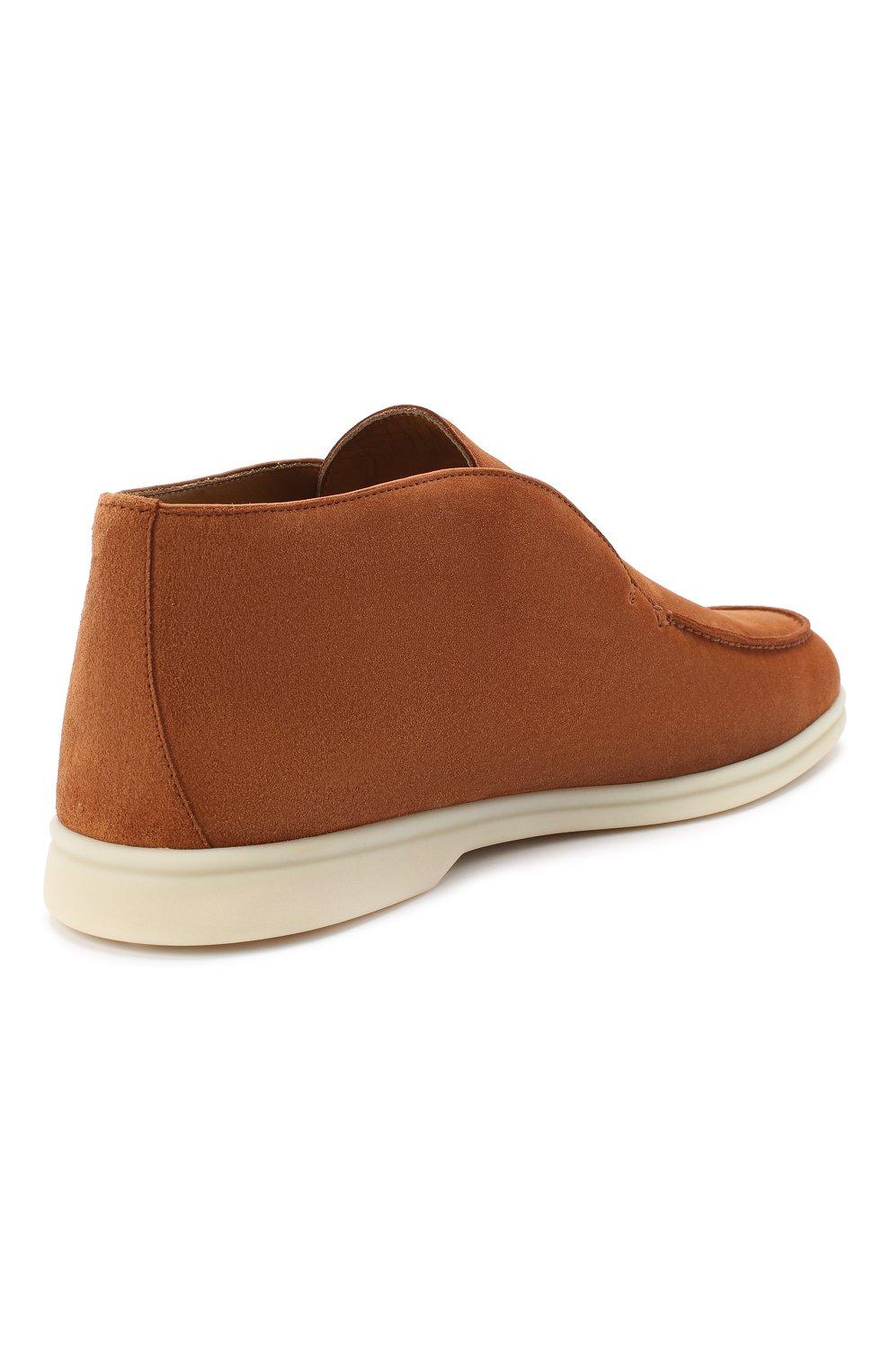 Мужские замшевые ботинки open walk LORO PIANA светло-коричневого цвета, арт. FAB4368   Фото 4