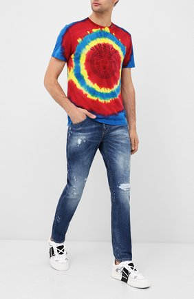 Мужские джинсы NEIL BARRETT синего цвета, арт. PBDE302/P809T | Фото 2