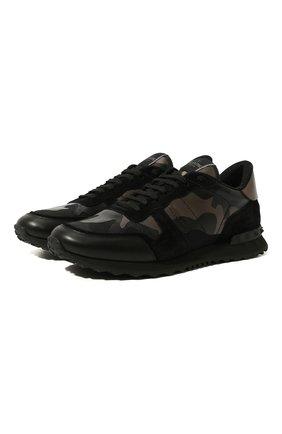 Мужские комбинированные кроссовки valentino garavani rockrunner VALENTINO черного цвета, арт. UY2S0723/NTA | Фото 1