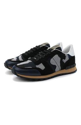 Мужские комбинированные кроссовки valentino garavani rockrunner VALENTINO темно-синего цвета, арт. UY2S0723/QRK | Фото 1