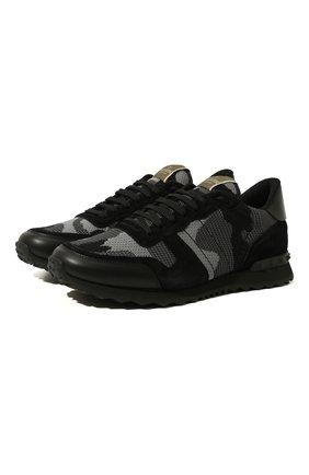 Мужские комбинированные кроссовки valentino garavani rockrunner VALENTINO черного цвета, арт. UY2S0723/QRK | Фото 1