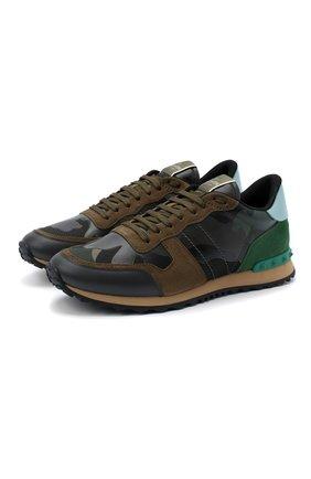 Мужские комбинированные кроссовки valentino garavani rockrunner VALENTINO хаки цвета, арт. UY2S0723/TCC | Фото 1