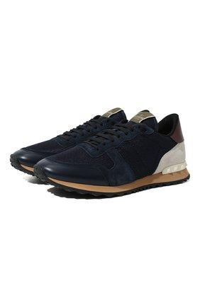 Мужские комбинированные кроссовки valentino garavani rockrunner VALENTINO темно-синего цвета, арт. UY2S0723/TCV | Фото 1