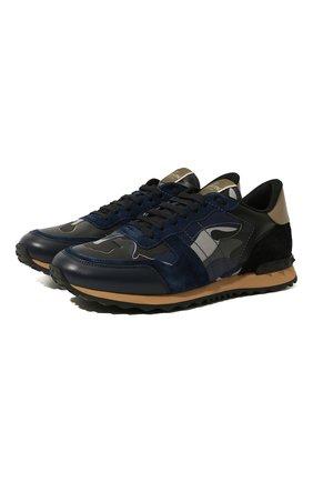 Мужские комбинированные кроссовки valentino garavani rockrunner VALENTINO темно-синего цвета, арт. UY2S0723/XVU | Фото 1