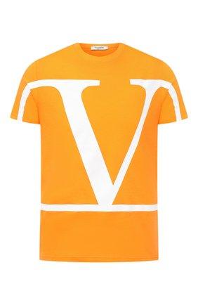 Мужская хлопковая футболка VALENTINO оранжевого цвета, арт. UV3MG05S63Q | Фото 1