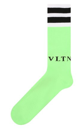 Мужские хлопковые носки VALENTINO зеленого цвета, арт. UV3KI00T6NG | Фото 1