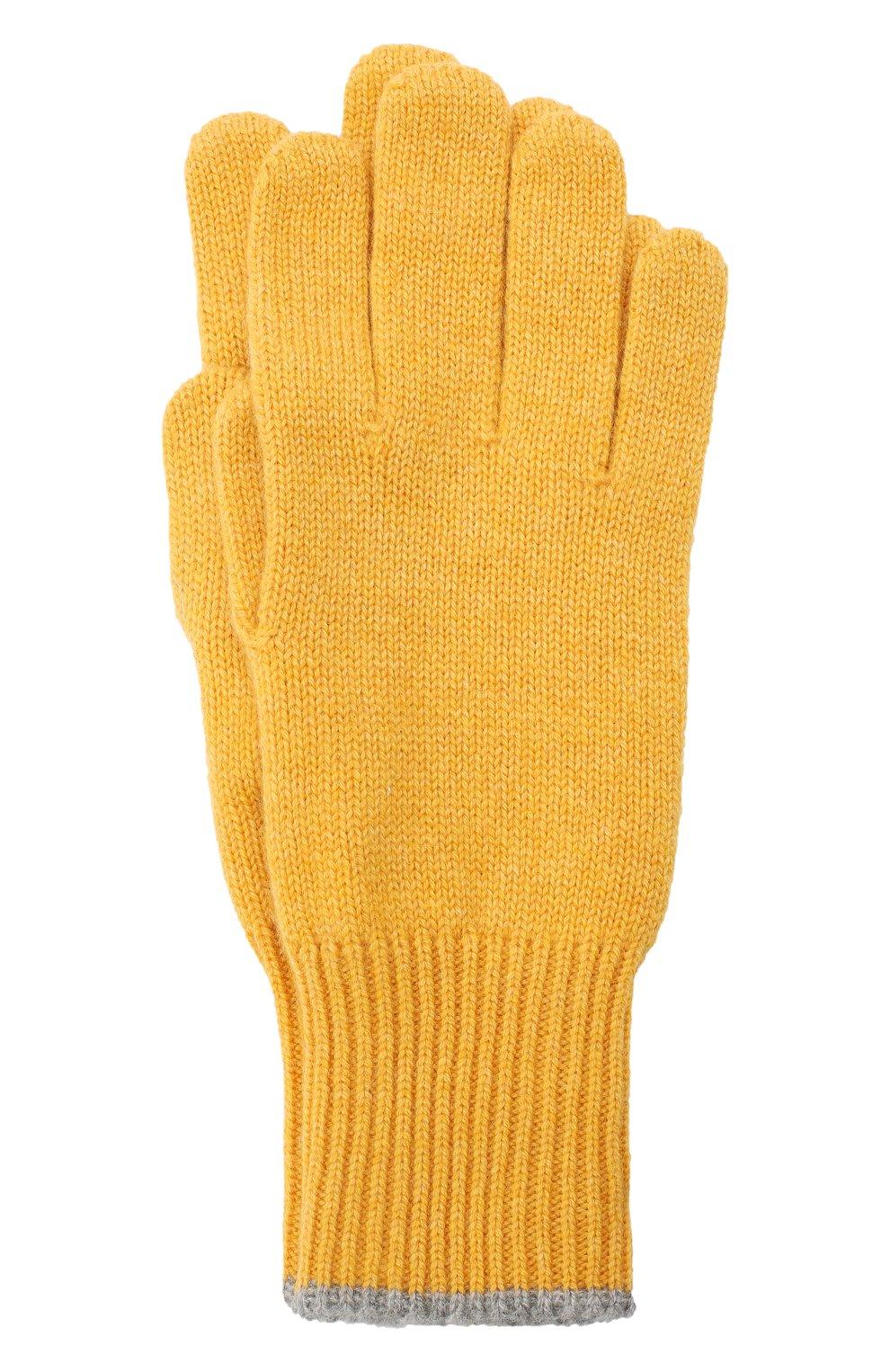 Мужские кашемировые перчатки BRUNELLO CUCINELLI желтого цвета, арт. M2293118 | Фото 1
