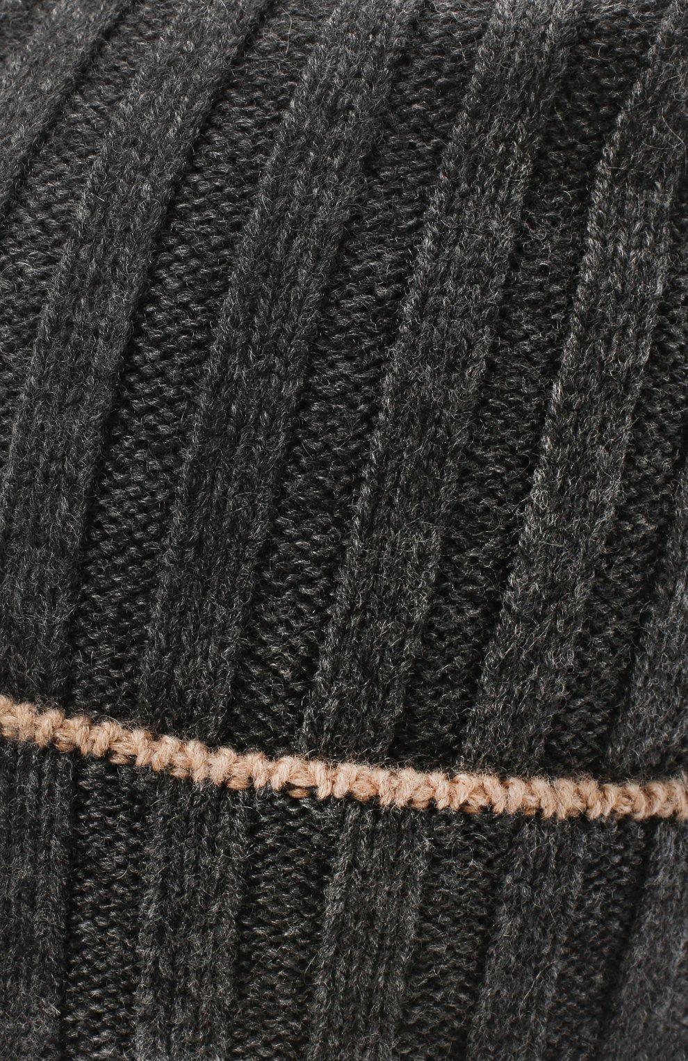 Мужская кашемировая шапка BRUNELLO CUCINELLI темно-серого цвета, арт. M2240900 | Фото 3