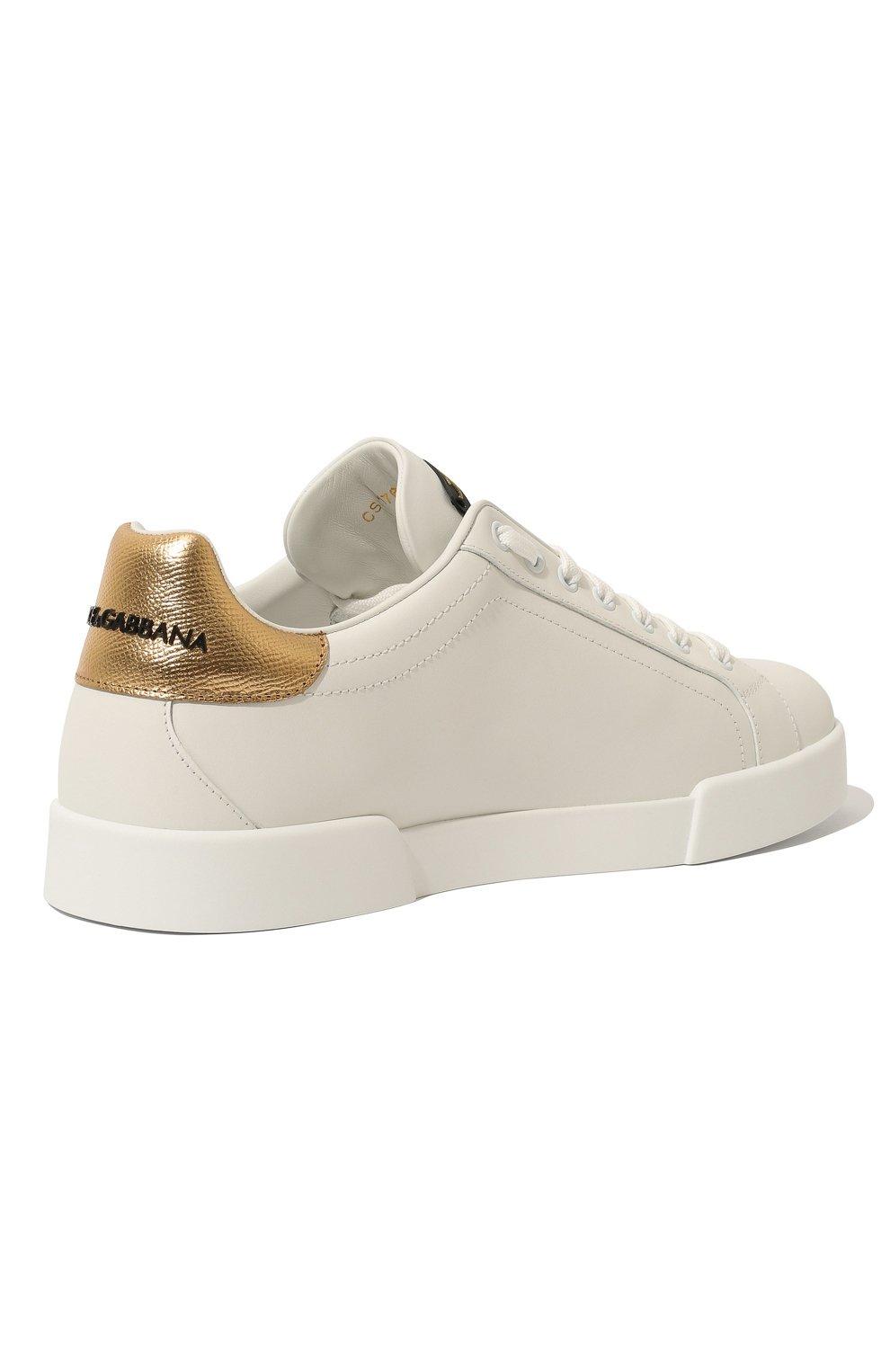 Мужские кожаные кеды portofino DOLCE & GABBANA белого цвета, арт. CS1761/AH136 | Фото 5