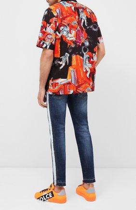 Мужские текстильные кеды portofino DOLCE & GABBANA оранжевого цвета, арт. CS1772/AJ992 | Фото 2