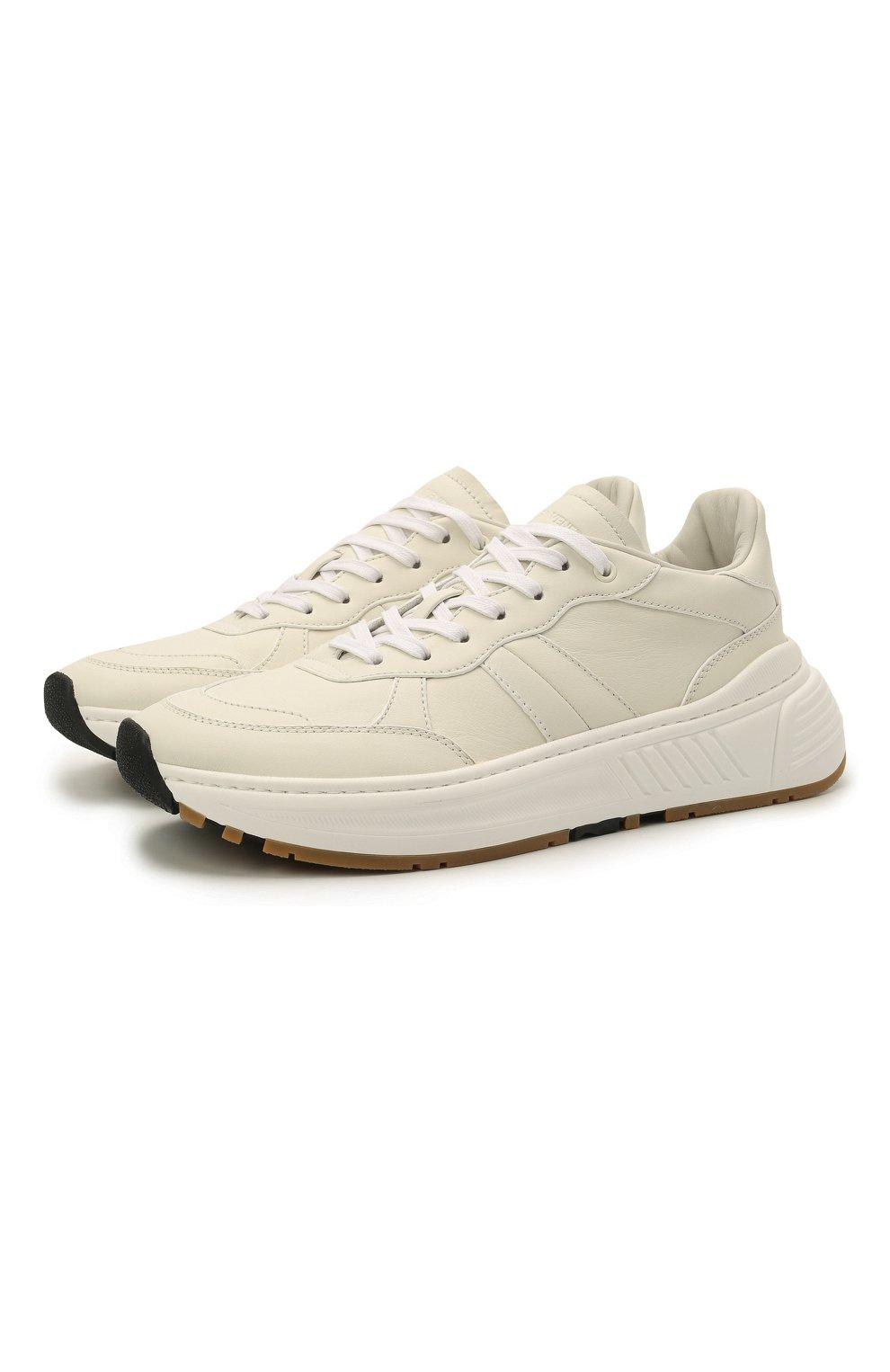 Мужские кожаные кроссовки BOTTEGA VENETA белого цвета, арт. 565646/VT040   Фото 1 (Материал внутренний: Натуральная кожа; Стили: Классический; Подошва: Массивная)