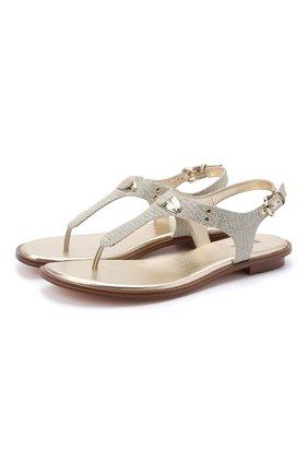 Женские текстильные сандалии MICHAEL MICHAEL KORS золотого цвета, арт. 40R8MKFA1D | Фото 1
