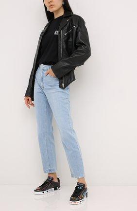 Женские кожаные кеды portofino DOLCE & GABBANA черного цвета, арт. CK1544/AX636 | Фото 2