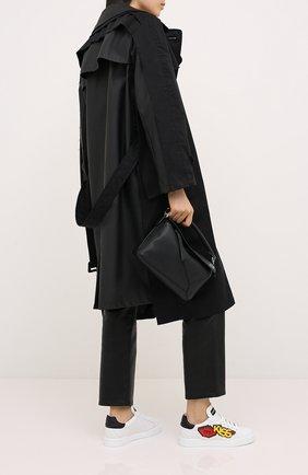 Женские кожаные кеды portofino DOLCE & GABBANA черно-белого цвета, арт. CK1563/AW076 | Фото 2