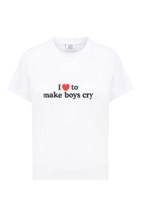 Женская хлопковая футболка VETEMENTS белого цвета, арт. UAH21TR569 1600/W | Фото 1