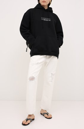Женская хлопковое худи VETEMENTS черного цвета, арт. UAH21TR534 1605/W | Фото 2