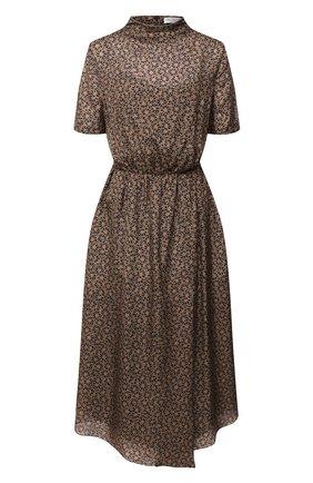 Женское шелковое платье BRUNELLO CUCINELLI коричневого цвета, арт. MB988AEV23 | Фото 1