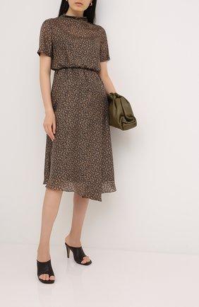 Женское шелковое платье BRUNELLO CUCINELLI коричневого цвета, арт. MB988AEV23 | Фото 2