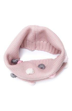 Детский шерстяной шарф-снуд CATYA розового цвета, арт. 024801 | Фото 1