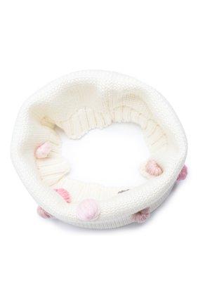 Детский шерстяной шарф-снуд CATYA белого цвета, арт. 024801 | Фото 1