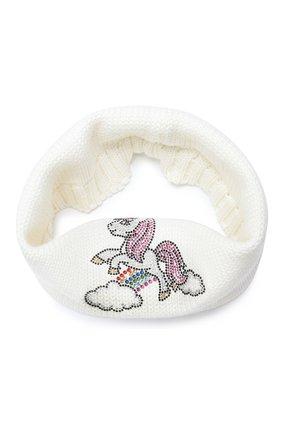 Детский шерстяной шарф-снуд CATYA белого цвета, арт. 024798 | Фото 1