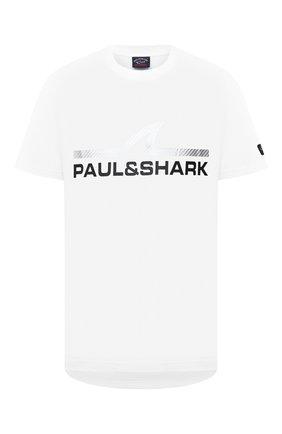 Мужская хлопковая футболка PAUL&SHARK белого цвета, арт. A20P1677   Фото 1