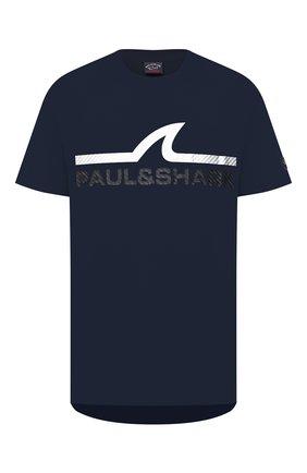 Мужская хлопковая футболка PAUL&SHARK темно-синего цвета, арт. A20P1677   Фото 1