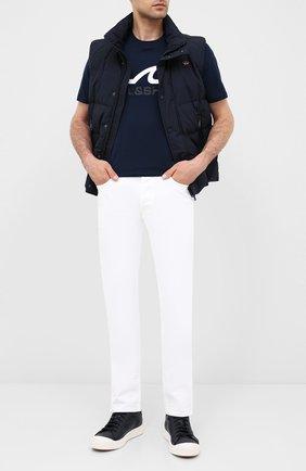 Мужская хлопковая футболка PAUL&SHARK темно-синего цвета, арт. A20P1677   Фото 2