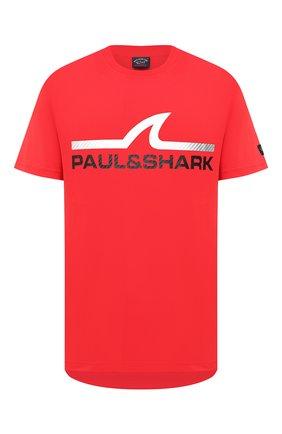 Мужская хлопковая футболка PAUL&SHARK красного цвета, арт. A20P1677   Фото 1