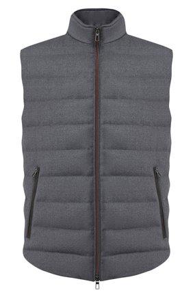 Мужской пуховый жилет LORO PIANA серого цвета, арт. FAL2824 | Фото 1